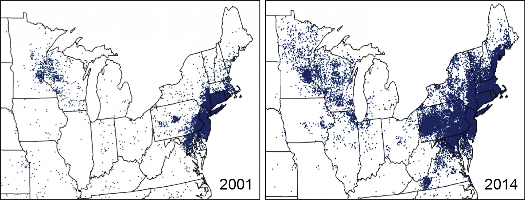 Figure 5 2 Changes In Lyme Disease Case Report Distribution