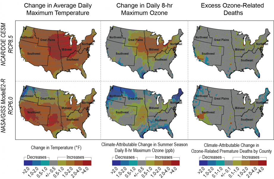 Figure ES4: Projected Change in Temperature, Ozone, and Ozone-Related Premature Deaths in 2030