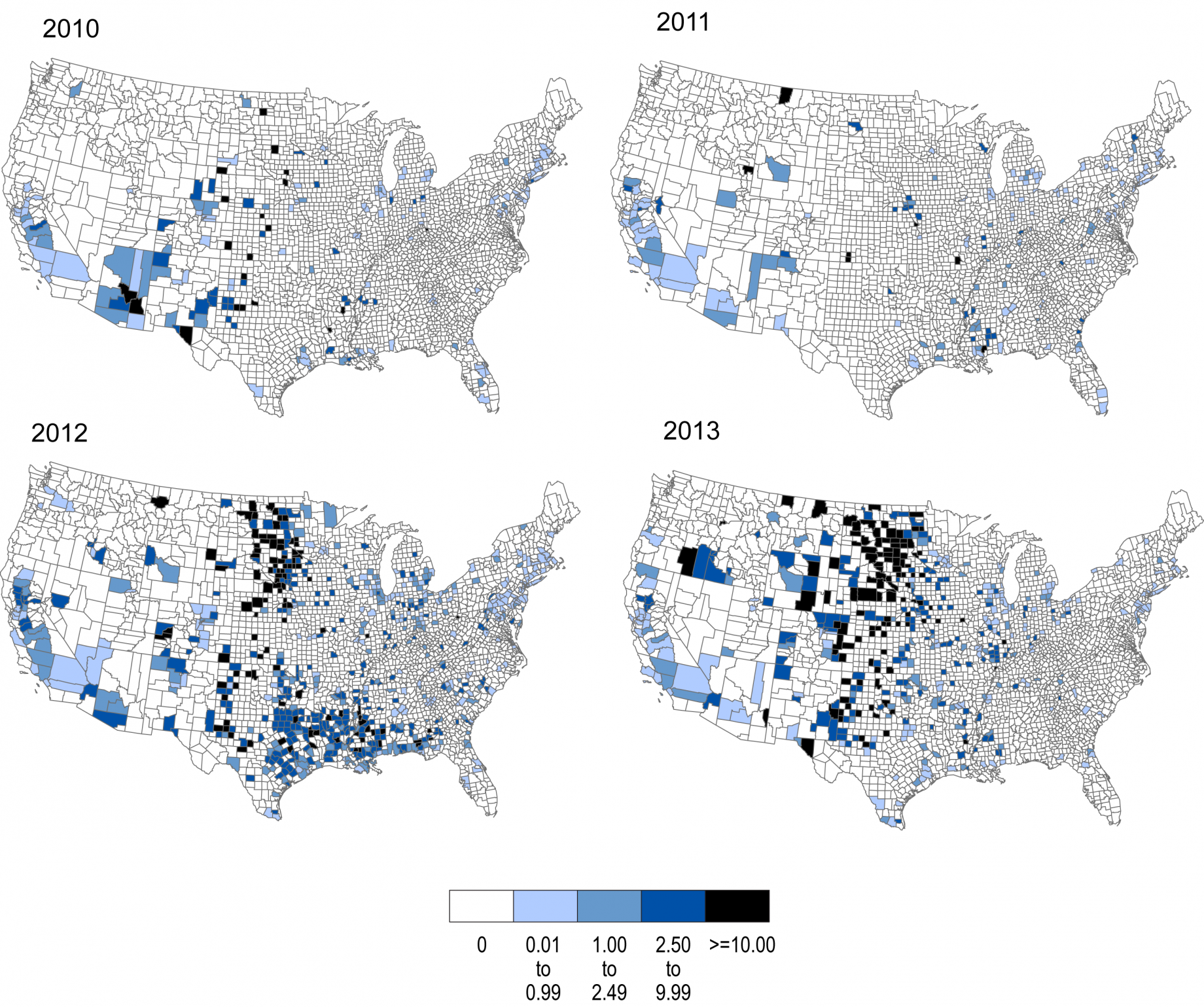 Chapter 5 vector borne diseases climate and health assessment figure 55 incidence of west nile neuroinvasive disease by county in the united states sciox Images