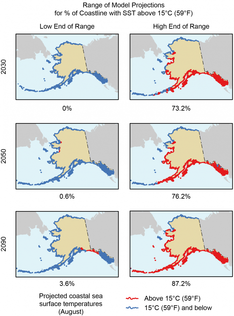 Figure 6.5: Changes in Suitable Coastal <i>Vibrio</i> Habitat in Alaska